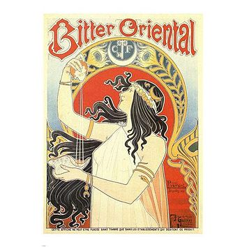 VINTAGE AD ORIENTAL BITTER POSTER woman holding orange seashell 24X36 