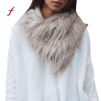 New Scarf Ladies Faux Fur scarves Womens scarf Scarves Warm faux fur Shawl Winter Parka Wrap Collar Black Gray