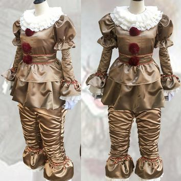 Cool 2017 pennywise the clown costume cosplay for women Terror Clown stephen king's it movie halloween costumes for men adult fancyAT_93_12