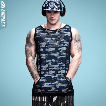 Aimpact Longline Camouflage Mens Tank Tops Fashion Vivid Fitness Bodybuilding Workout Tank Hip Hop Sleeveless Singlet Hippie Top