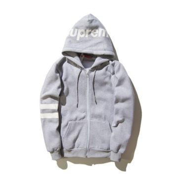 Men 's sweater hooded sweater men and women lovers English word jacket head tide Gray