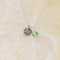 Dainty Lotus Necklace with Peridot Green Crystal, August Birthstone Crystal, Sterling Silver Charm Necklace, Yoga Jewelry
