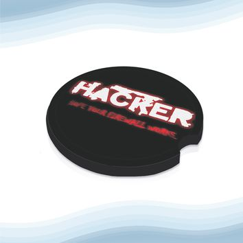 Hacker Firewallg Car Cup Holder Coasters Rubber Black-Backed (Set of 2)