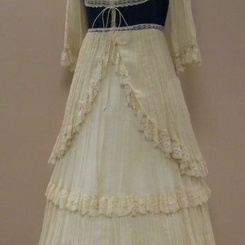 VTG 1970s Jessica GUNNE SAXWhite and Blue Steampunk Tiered Lace Prom Prarie Dress Boho Victorian Size 12 Large