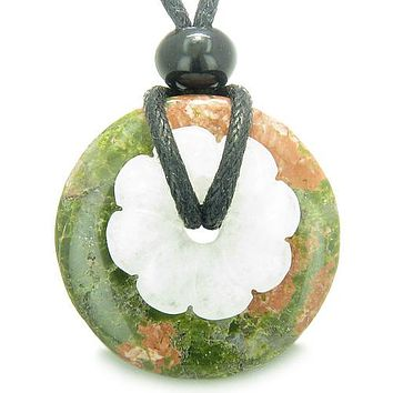 Double Lucky Amulet Magic Donut Flower Unakite White Jade Protection Healing Pendant Necklace