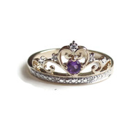 14k Gold Diamond And Amethyst Crown Princess Ring