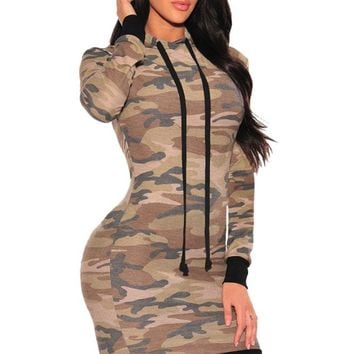 Camo Hoodie Stylish Long Sleeve Mini Dress LAVELIQ