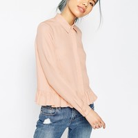 ASOS Casual Shirt With Ruffle Hem at asos.com