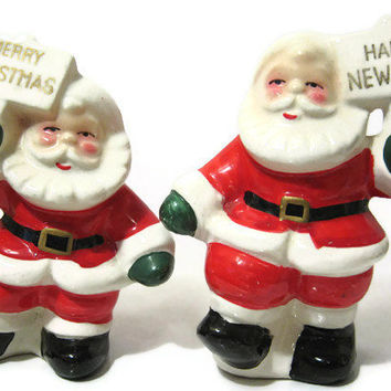 Vintage Ceramic Merry Christmas Happy New Year Santa Salt and Pepper Shakers Japan