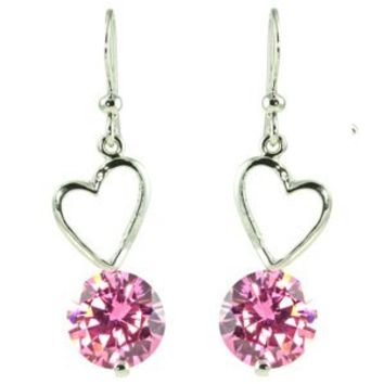 Heart Shaped Frame Drop with Large Pink CZ Dangle Earrings