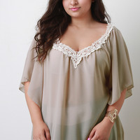 Plus Size Flowy Chiffon Crochet V-Neck Top