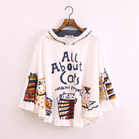 Cute kawaii cat cloak hoodies