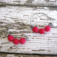 Fuchsia Bead Hoop Earrings : Czech Glass Jewelry