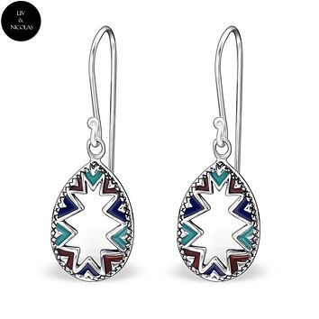 Solid 925 Sterling Silver Colorful Drop Earrings