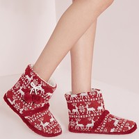 Missguided - Festive Fair Isle Slipper Boots