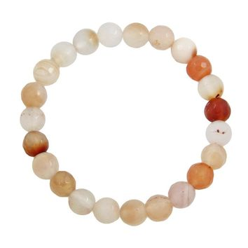 Small Bead Stretch Bracelet in Apricot Agate