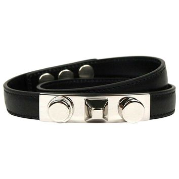 Saint Laurent LE TROIS CLOUS Double Wrap Bracelet Black Leather Silver Studs