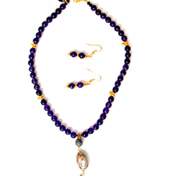 Intense Purple Amethyst Bead Necklace, with Gold Stations, Papua Shell & Green Jade Pendant