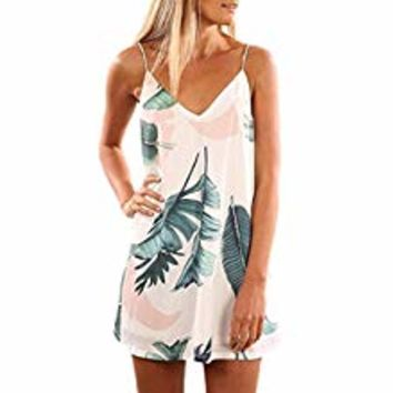 Womens V Neck Halter Neck Floral Chiffon Mini Beach Dress Summer Loose Flowy Casual Sundress