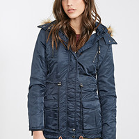 FOREVER 21 Faux Shearling Parka Navy