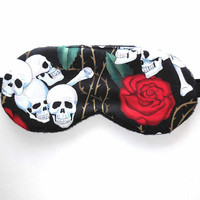 Skulls Roses Sleep Mask, Eye Mask, Woman Present, Eyeshade Gift, Soft Fleece Back, Blindfold, Night Nap Satin Cotton Knit Silk Flannel