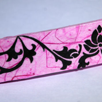Lotus Flower Pink Hanji French Barrette Hair Black Pink Sturdy Stainless Steel Handmade Thick Hair Pin