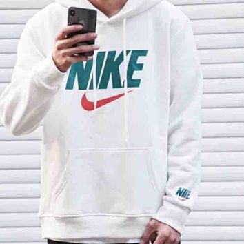 NIKE Autumn And Winter New Fashion Bust Letter Hook Print Thick Keep Warm Hooded Women Men Long Sleeve Sweater White