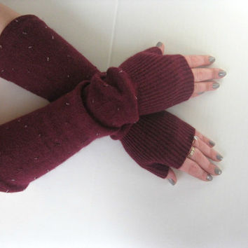 Beaded Wool Fingerless Gloves - Angora Wool Blend in Oxblood Burgundy Texting Gloves Arm Warmers : Upcycled Recycled Repurposed Eco Friendly