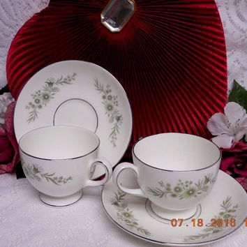 Wedgwood White China Dinnerware WestBury Pattern #: R4410- 2 Leigh cup & saucer