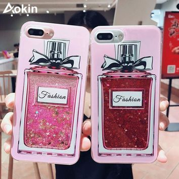 Aokin Girls bling glitter liquid phone cases for iphone 7 case silicone transparent back cover for iphone 6s 6 7 plus case coque