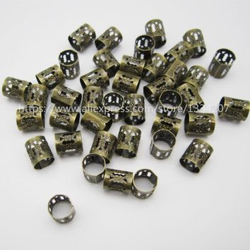 100Pcs/Lot Antique Brass hair dread dreadlock Beads adjustable cuff clip approx 8mm innner hole