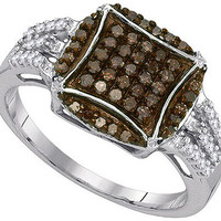 Cognac Diamond Fashion Ring in 10k White Gold 0.45 ctw