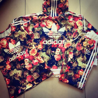 Adidas Fashion Multicolor Sport Tops Pants Set Three -Piece Sportswear