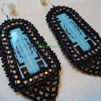 Native American Style earrings in blue and black with netted fringing