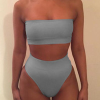 Hot Sexy pure color strapless off shoulder two piece bikini high waist Sapphire gray