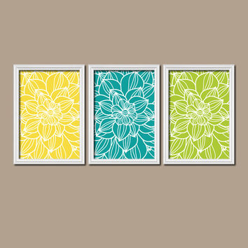 Yellow Turquoise Lime Bedroom Wall Art Bathroom Wall Art Bedroom Picture Flower Wall Art Flower Pictures Dahlia Flower Prints Set of 3 Decor