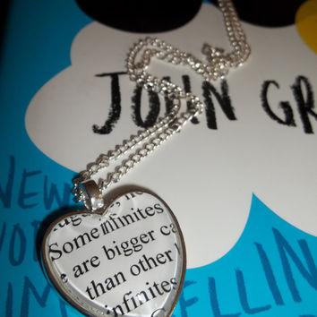 The Fault in Our Stars by John Green ''Some infinities are bigger than other infinities'' Quote Book Pendant Necklace Jewelry