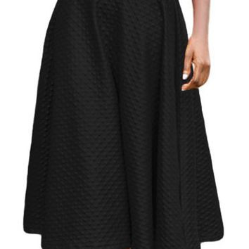 Black Grain Leather Midi Swing Skirt