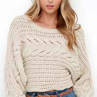 Hearth Warming Beige Cable Knit Crop Sweater