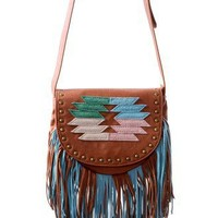 Retro Aztec Pattern Fringe Crossbody Bag - Retro, Indie and Unique Fashion