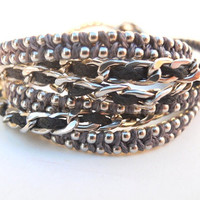 Silver, Black and Gray Wrap Bracelet or Necklace
