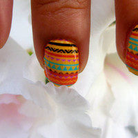 Nail Decals African lollipop summer tribal stripes to dance and fall in love in