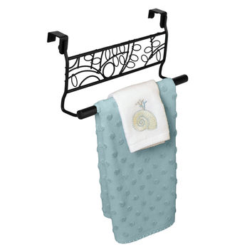 Evelots Over the Cabinet Decorative Black Metal Twigs Towel Rack