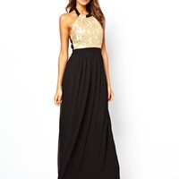 Little Mistress Halter Maxi Dress with Sequin Embellishment - Multi