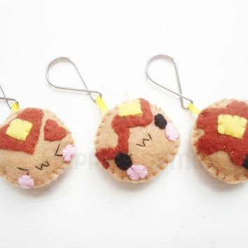 Pancake Keychain or Phone Charm - Kawaii Keychain , Dust Plug , Plush , Felt Food Stocking Stuffer