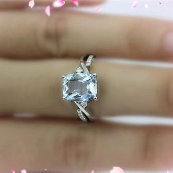 Unique 6X8mm Aquamarine Ring 14K White Gold Diamonds Engagement Ring Wedding Band Ring Anniversary Ring