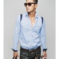 Men New Style Luxurious Fashion Slim Color Matching Blue Cotton Shirt M/L/XL@149P45bl $17.94 only in eFexcity.com.