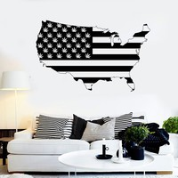 Vinyl Wall Decal United States Map Marijuana Smoking Weed Stickers Unique Gift (ig3680)
