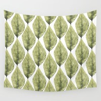 Faded Green Leaves Wall Tapestry by inspiredimages