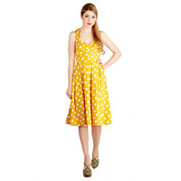 2015 Women Summer Causal 50s Vintage Dresses Yellow Polka Dots Pinup Retro Cotton Rockabilly Swing Ball Prom Party Dress